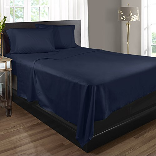 Bed Sheets, 100% Egyptian Cotton, 400 Thread Count - Queen - Navy Blue - 4 Piece Bed Sheet Set, Expertly Woven To Produce Lustrous Satin Finish, Deep Pocket, Machine Washable, By Clara Clark