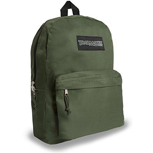 17 Trailmaker Backpack Bookbag,One Size,Green by Trailmaker