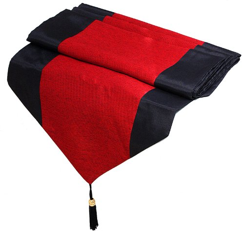 Artiwa Red & Black Silk Decorative Table/Bed Runner 14 x 120 inch, Gift Idea É