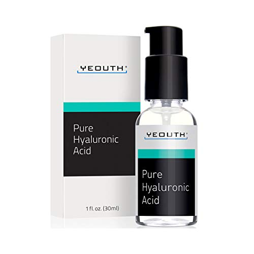 Hyaluronic Acid Serum for Face by YEOUTH - 100% Pure Clinical Strength Anti Aging Formula! Holds 1,000 Times Its Own Weight in Water, Plumps and Hydrates Skin, Reduces Wrinkle -All Natural Moisturizer ()