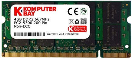 Komputerbay 4GB DDR2 SODIMM (200 pin) 667Mhz PC2-5400 / PC2-5300 CL 5.0 1.8v Unbuffered NON-ECC DDR2-667 Memory Module 667 Pc2 5300 Dual Channel