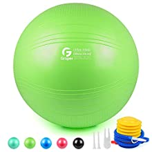 Gruper Yoga Stability Ball - Extra Thick Exercise Ball for Fitness Balance Workout - Anti Burst Chair for Home and Office Desk-Includes Hand Pump & Workout Guide Access (Green, 30 inch (75cm),XL)