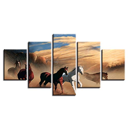 (YYJHMK Print Poster Home Decor 5 Pieces Animal Horse Group Running Scenery Paintings Modular Abstract Canvas Pictures Wall Art 30X40 30X60 30X80Cm)