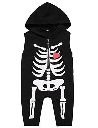 - Paddy Field Baby Boy's Skeleton Halloween Costume Sleeveless Hoodie (12-18 Months, Skeleton)