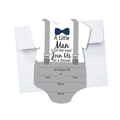 Little Man Baby Shower Blank Invites 10 Pack Fill In Invitations with Envelopes for Baby Shower Bowtie and Suspenders Gray with Navy ()