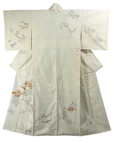 乞食メトリックアラバマリサイクル 着物 紬 付下 草子文様と巻物文様 裄62.5cm 身丈153cm