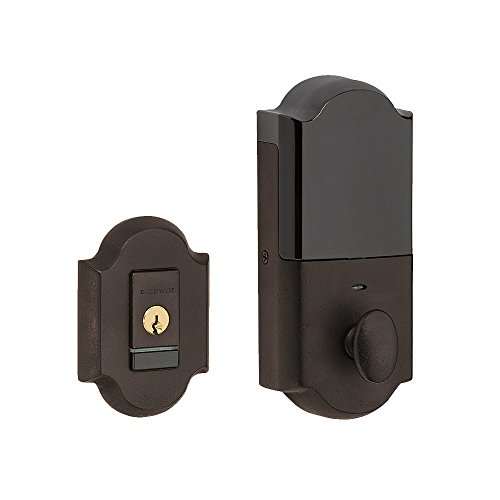 (Baldwin 8252.B Evolved Arched Single Cylinder Deadbolt with Bluetooth Technology, Distressed Venetian)