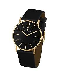 Jacques Lemans Unisex York 40mm Black Leather Band Quartz Analog Watch 1-2030D
