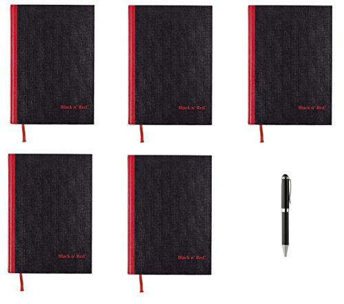 Black n' Red Casebound Hardcover Notebook, 11-3/4'' x 8-1/4'', Black/Red, 96 Ruled Sheets, 5 Pack (D66174) - Bundle Includes Plexon Ballpoint Pen by Black n' Red
