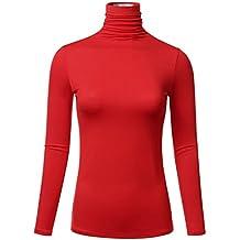 FLORIA Womens Long Sleeve Lightweight Turtleneck Top Pullover Sweater (S-3X)