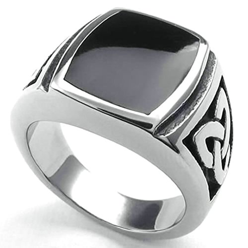 Costume Ringmaster Australia Mens (Daesar Stainless Steel Rings Mens Ring Vintage PunkRings for Men Rings Silver Black)
