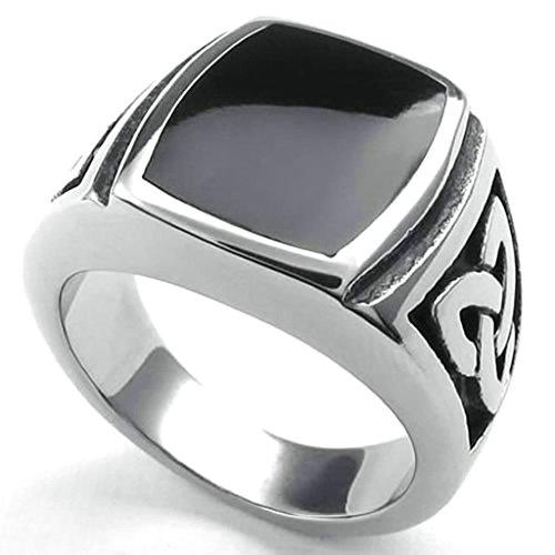 Australia Ringmaster Mens Costume (Daesar Stainless Steel Rings Mens Ring Vintage PunkRings for Men Rings Silver Black)