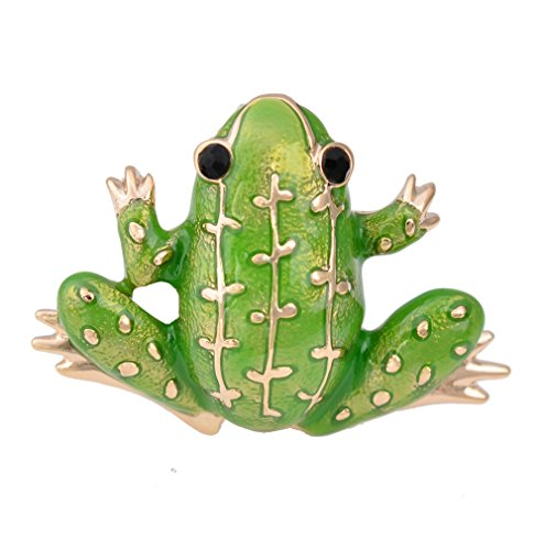 Black Eyed Green Frog Brooch Pin Lucky Symbol Animal Pin Sweater Guard (Austrian Crystal Frog Pin)
