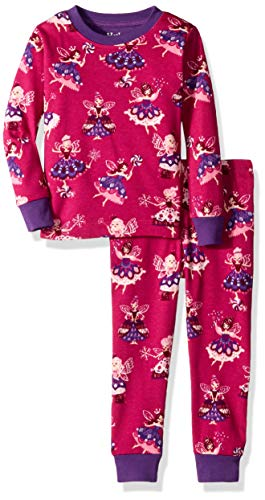 Hatley Girls' Little Organic Cotton Long Sleeve Printed Pajama Sets, Fairy Princess, 4 Years