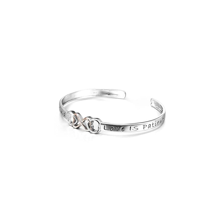 SILVER MOUNTAIN Two tone 925 Sterling Silver Love Is Patient, Love Is Kind Infinity Love Adjustable Bangle