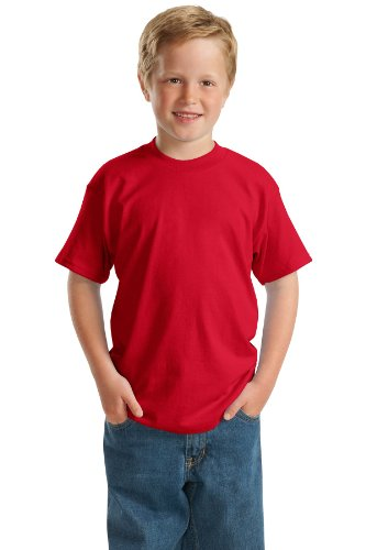 (Hanes Heavyweight 50/50 - 50/50 Cotton/Poly T-Shirt, Youth XS (2-4), Deep Red)