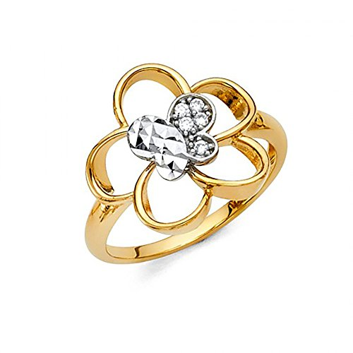 American Set Co. 14K Two Tone Gold Diamond-Cut Butterfly Pave Round CZ Ring