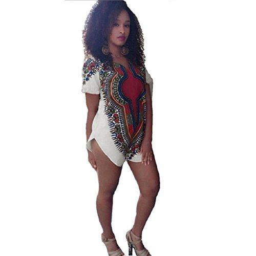 Culater Vestido de la mujer del Hippie tribal tradicional Fiesta de Dashiki africana Multicolor