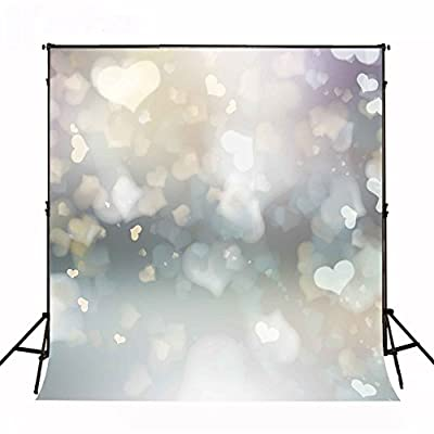 Kate Photography Backdrop Silver Grey Background Shinning Sweetheart Spot Fuzzy 5x7ft Photo Booth Props Backdrop for Photography MJ00016