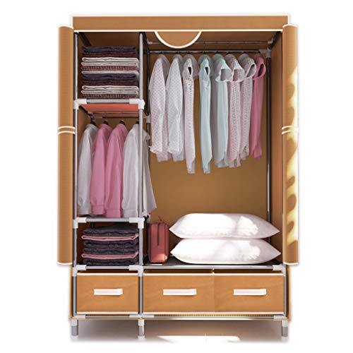 (ALWUD Portable Wardrobe Clothes Storage Organizer, Steel Pipe Closet Shelves with Hanging Rod 3 Grids 3 Drawers Left and Right Open,Beige_44x67x17.7Inch)