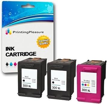 Printing Pleasure 3 XL Compatibles HP 300XL Cartuchos de tinta para Deskjet D1660 D1663 D2530 D2545 D2560 D2660 D5560 F2420 F2480 F4210 F4280 F4580 Photosmart C4780 C4680: Amazon.es: Electrónica