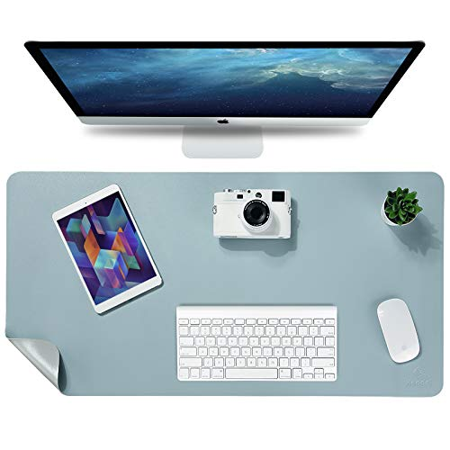 "Knodel Desk Pad, Office Desk Mat, 35.4"" x 17"" PU Leather Desk Blotter, Laptop Desk Mat, Waterproof Desk Writing Pad for Office and Home, Dual-Sided (Light Blue)"