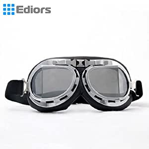 Ediors® Vintage Style WWII RAF Pilot Flying Motorcycle Biker Motocross Cruisers Sun UV Wind Eye Protect Helmet Goggles Chrome Frame