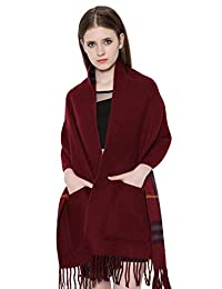 Eleter Women's Cashmere Shawl Scarf Wrap with Tassels(Jujube Red)