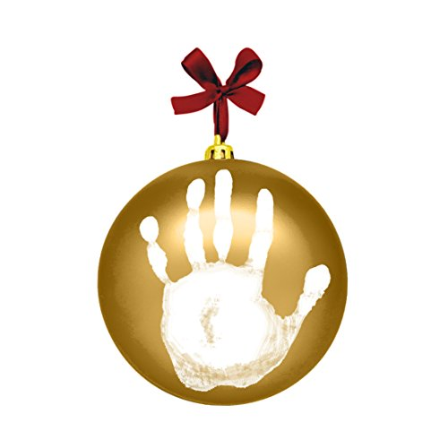 Tiny Ideas Baby's Print Holiday Keepsake Ball Ornament with Included Paint for Handprint, Gold
