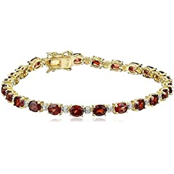 18k Yellow Gold-Plated Sterling Silver Two-Tone Garnet Tennis Bracelet, 7.25""