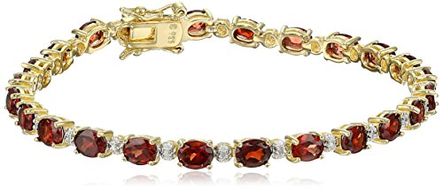 18k Yellow Gold Plated Sterling Silver Genuine Garnet and Diamond Accent Tennis Bracelet, 7.25""