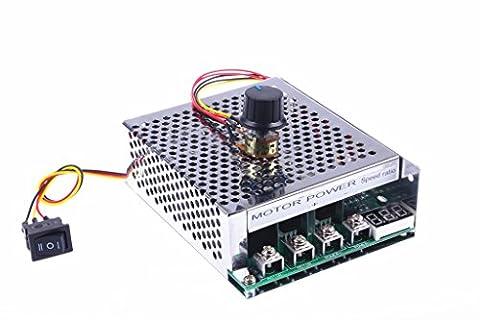 KNACRO PWM DC motor driver 60A DC 12V / 24V / 36V / 48V 10-50V Forward Reverse switch Tachometer brush motor inverted module Metal protective housing Maximum power - 36 Volt Motor