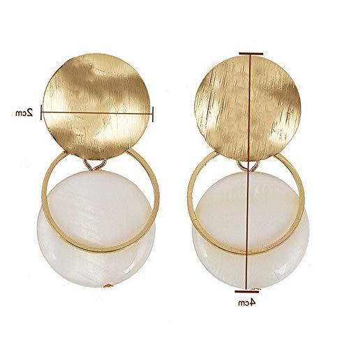 Endicot Fashion Pearl Shell Asymmetry Geometric Ear Hoop Stud Earrings Woman Jewelry | Model ERRNGS - 16765 |