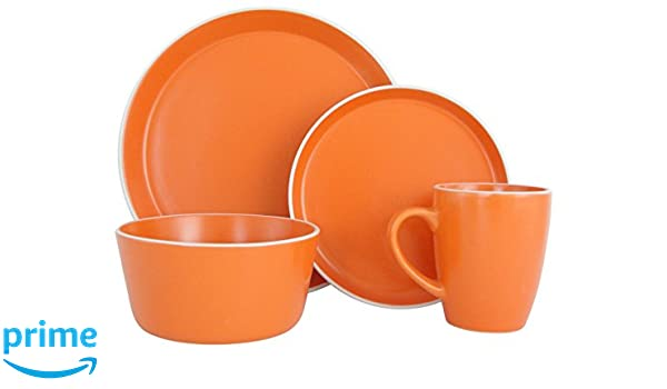 Amazon.com Melange Stoneware 16-Piece Dinnerware Set (Moderno Orange) | Service for 4| Microwave Dishwasher u0026 Oven Safe | Dinner Plate Salad Plate ...  sc 1 st  Amazon.com & Amazon.com: Melange Stoneware 16-Piece Dinnerware Set (Moderno ...