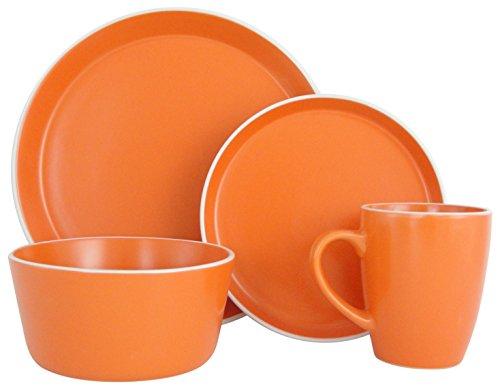 Fiesta Dishwasher Safe Mug (Melange Stoneware 32-Piece Dinnerware Set (Moderno Orange) | Service for 8| Microwave, Dishwasher & Oven Safe | Dinner Plate, Salad Plate, Soup Bowl & Mug (8 Each))