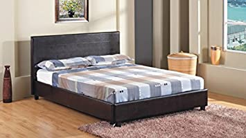 4ft 6 double faux leather bed frame in black prado - Bed Frames Amazon