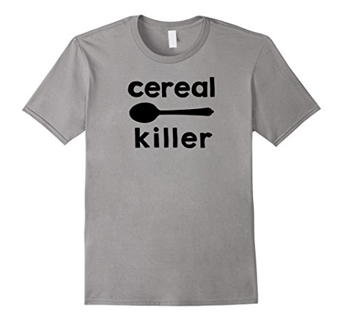 funny cereal eating spoon t-shirt design Large Slate ()