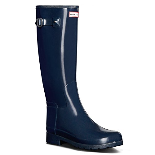 Hunter Women's Original Refined Gloss Rain Boots Navy 7 M US