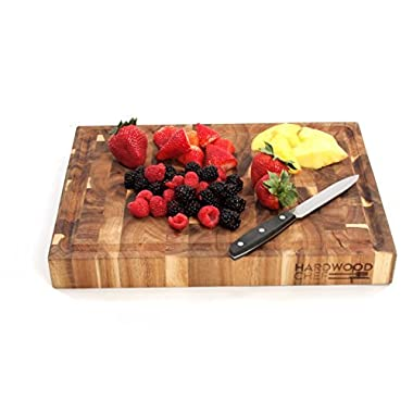 Hardwood Chef Premium Thick Acacia Wood End Grain Cutting Board Butcher Block with Groove, 16 x 12 x 1¾ in Incredible Cheese & Appetizer Serving Platter | For Chopping