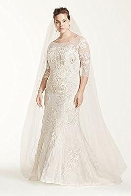 Plus Size Oleg Cassini 3/4 Sleeve Lace Trumpet Wedding Dress Style 8CWG638