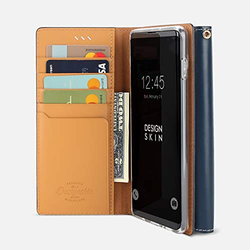 (Design Skin Galaxy S10 Plus Case, [Wetherby Basic Flip Folio Wallet Cover] Leather Cowhide with Card Holder for Samsung Galaxy S10 Plus - Deep Blue)