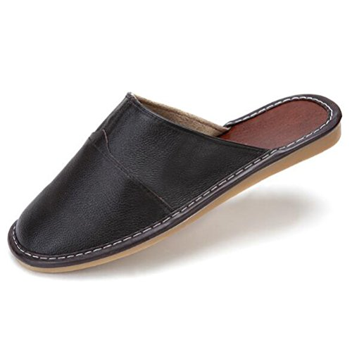 Nanxson(TM) Unisex Solid Color Leather Slipper TX0008 (EU 43-44(US 9-10), brown) (Kids Hobbit Feet)