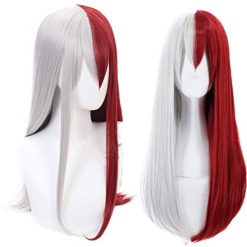 Half Cap Wigs - Anogol Hair Cap+Synthetic Wigs Red Half Silver Cosplay Wig With Bangs Long Wavy Hair for Anime Costume