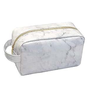 Neceser Maquillaje de mármol Blanco,Estuche Maquillaje Bolsa de Cosméticos,Impermeable Makeup Bag Viaje Grande para Mujeres Niña y Infantil