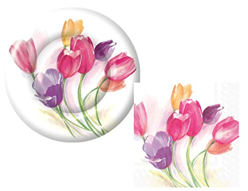 Floral Themed Party Supply Pack: Bundle Includes Dessert Plates and Napkins for 16 Guests in an Elegant Tulip Season Design ()
