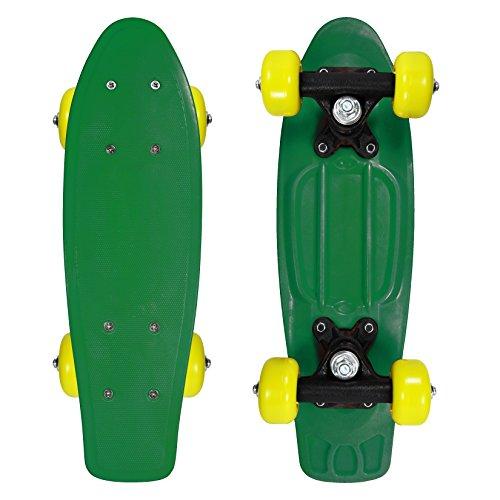 Rude Boyz and OC Girl 17 Inch Mini Beginner Skateboard Retro Color Banana Board Cruiser Board - Green (Decks Tech Almost)