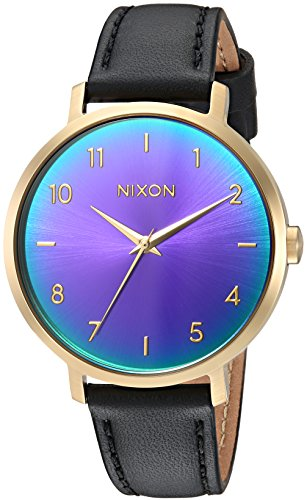 Nixon Women's 'Arrow Leather' Quartz Stainless Steel Casual Watch, Color:Black (Model: A10912766)