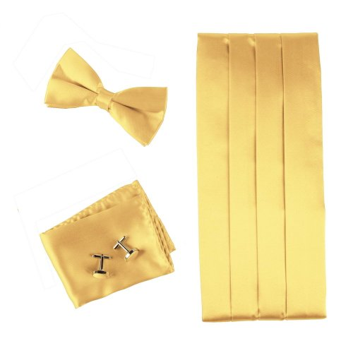 CM1025 Luxury Gift Giving Gold Solids Silk Mens Cumberbunds Hanky Cufflinks Bow Tie Set Beautiful Gift By Epoint (Gold Cummerbund)