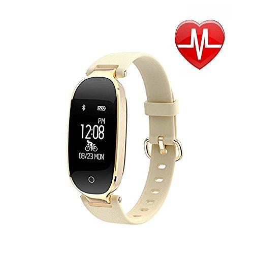 Fashion Design Smart Waterproof Watch with Bluetooth,Smart Watch for Humen Heart Rate Test-Gold by JiiJian