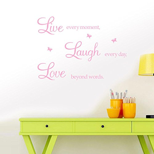 Rumas Live Love Wall Stikcer Quote for Family, Wall Mural for Baby Room Bedroom, DIY Art Vinyl Wall Decal Decor for Office School (Pink) - Baby Pig Box